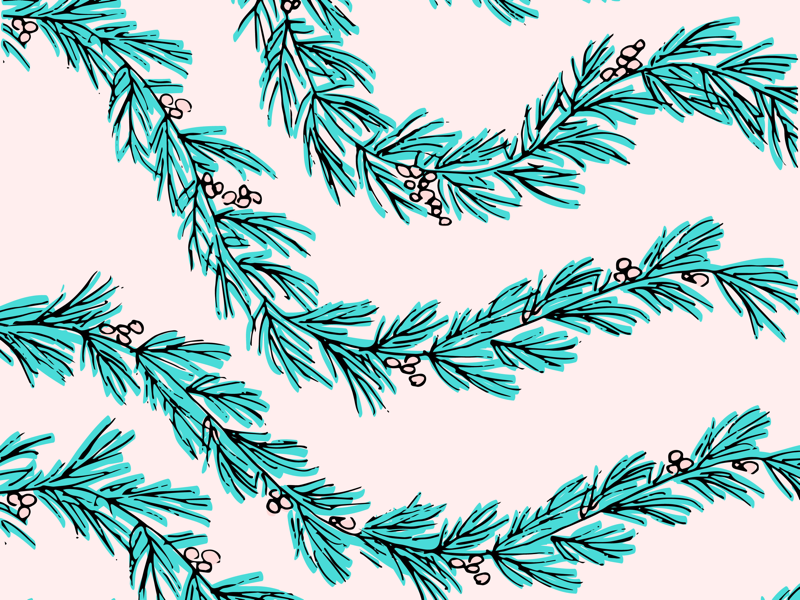 Decking the Halls & Whatnot pink holidays christmas illustration