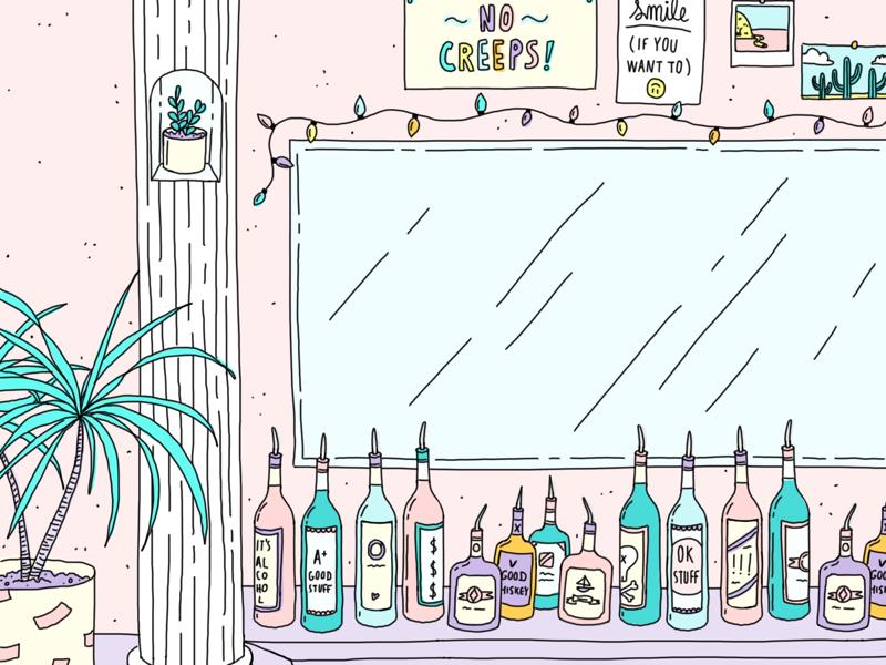 The Ideal Bar alcohol no creeps pink bar illustration