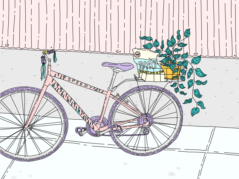 Bicycle pink green thumb biking plants bicycle illustration