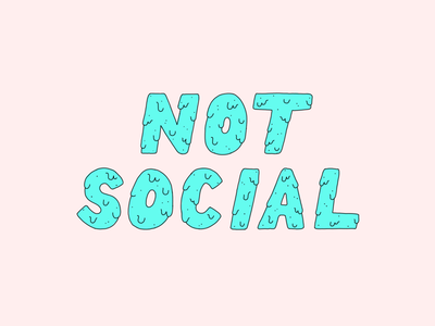 Not Social introvert green pink antisocial illustration