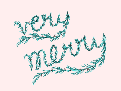 Very Merry green garland pink merry holidays illustration
