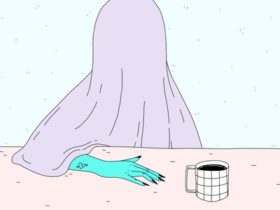 If You Need Me, Don't blue purple coffee monday illustration