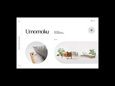 Umomoku furniture ui clean minimal simple website web grid layout typography design