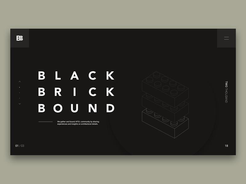 Black Brick Bound web minimal layout typography header simple grid design website