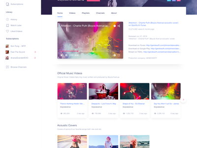Youtube Redesign - Free PSD channels video redesign youtube