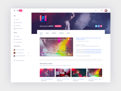 Youtube Redesign - Free PSD