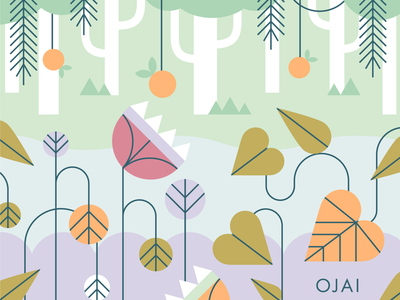 Calendar in the works! mid-century foliage vector illustrator design nature oranges california ojai calendar