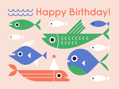 Happy Birthday birthday fish illustrator graphic design flat design illustration design paper goods stationery greeting card cards happy birthday