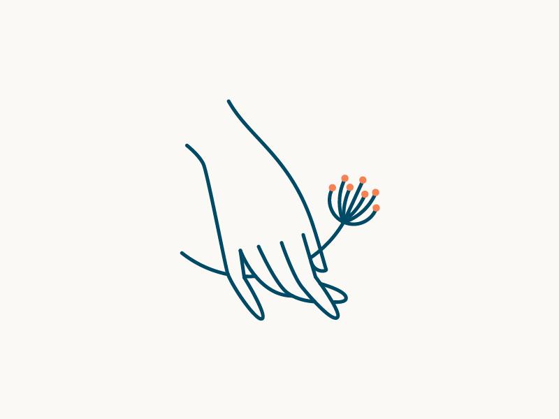 Logo Concept seed poppy california simple flower illustration icon brand logo hand