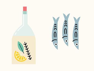 Deli  ingredients menu charucterie gourmet olive oil sardines market food illustration deli