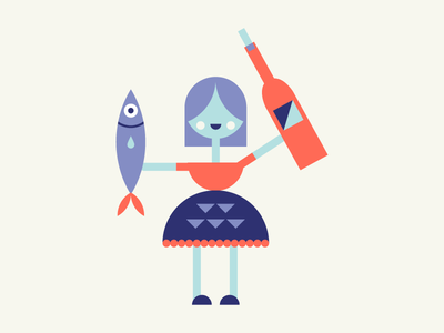 Wine and Seafood forev lady illustration character design pattern shapes character wino seafood fish girl wine