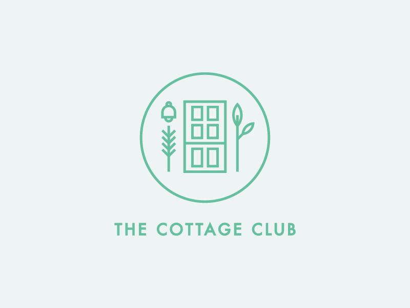 The Cottage Club flat minimal cottage identity logo design icon illustration branding