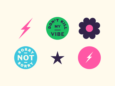 Vibe Stickers flowerpower movement era hippy 60s 70s badge logo brand collateral branding stickers vibe