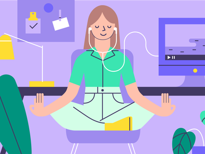 Be Happy Illustration find joy illustration editorial illustrator design character work office happiness meditation zen meditate visual design