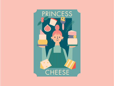 Princess Cheese female lady food brie character design character visual design illustrator design illustration cheese
