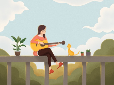 A girl who plays the guitar. illustration