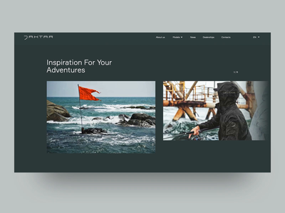 Jaktar Gallery minimalistic boat slider interaction web animation ux graphic design ui