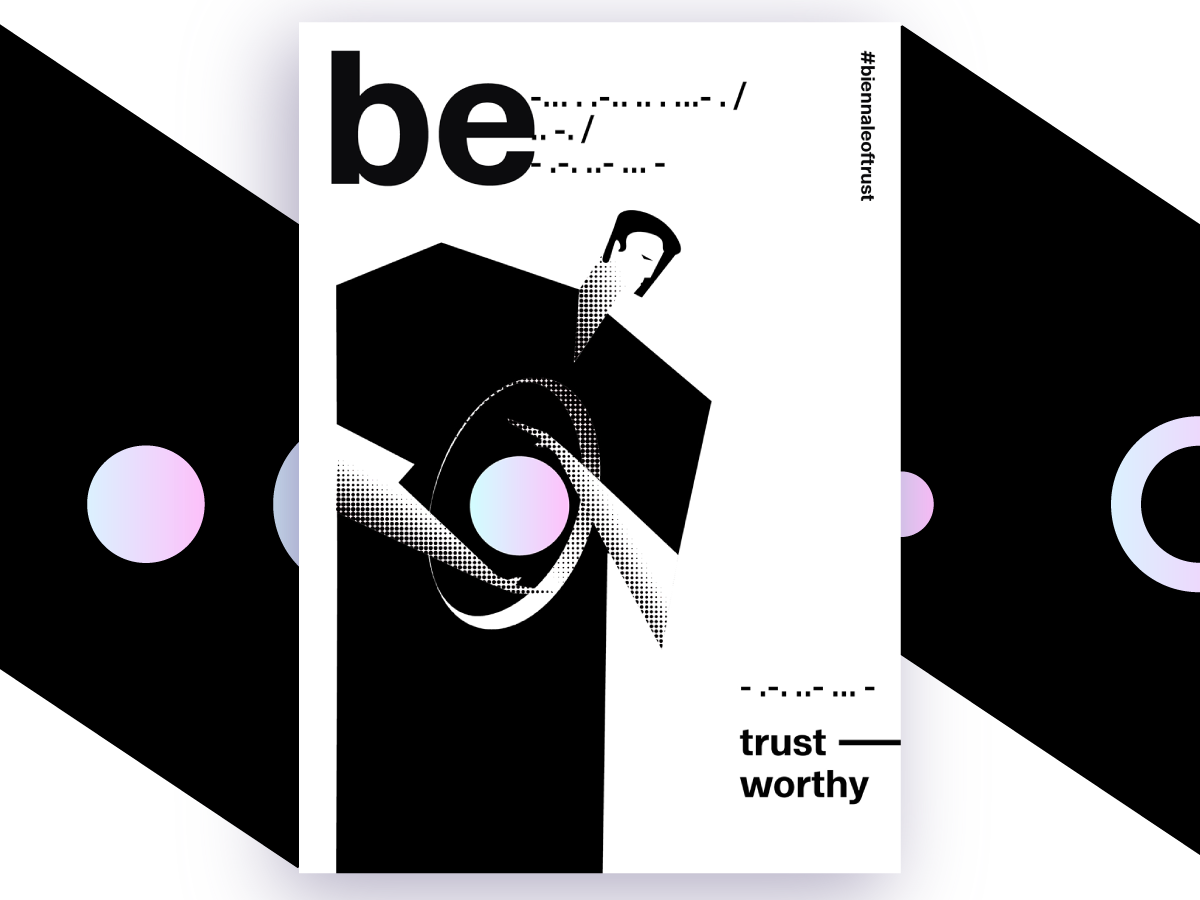 Be Trustworthy - Poster Contest Submission halftone black poster contest braille man trust gradient vector poster graphic design typography illustration