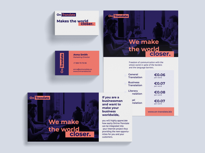 Ontranslate Branding & Stationery translation print design brand identity branding design logo graphic design typography