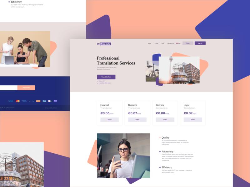 OnTranslate Website Concept abstract logo branding design illustration typography ui