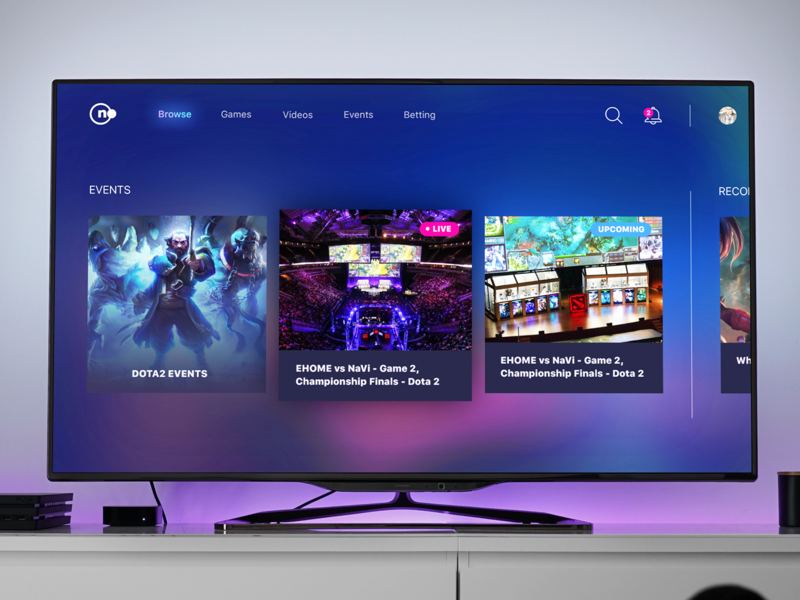 Smart TV App for e-sports gradients e-sports apple tv smart tv tv app ux ui