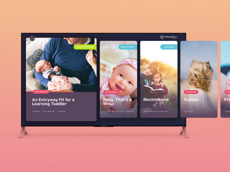 Smart TV App for young parents video app minimalist clean tv design gradient uidesign brand identity app smart tv apple tv ux