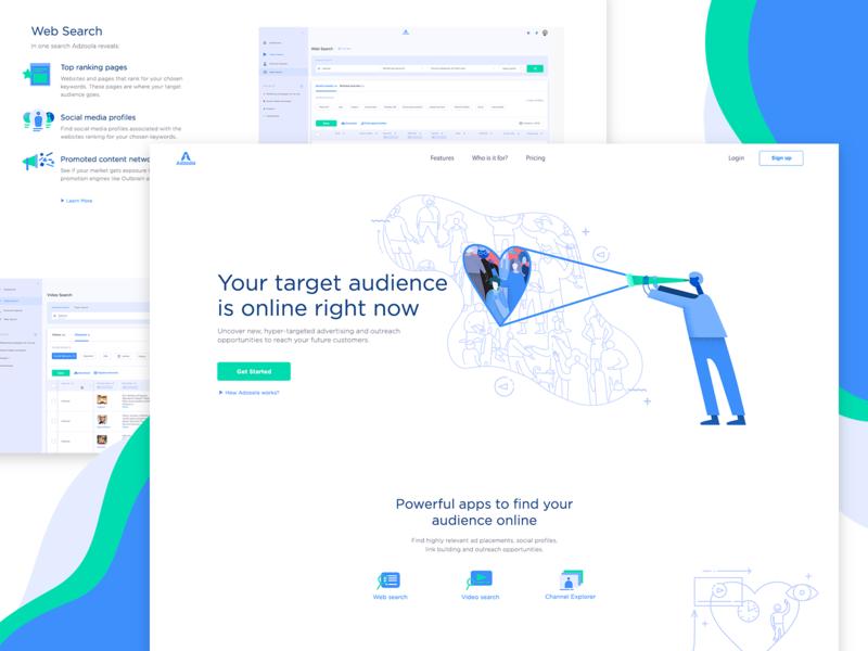 Adzoola UI & Illustrations icon saas video seo target search marketing digital blue audience design graphic design illustration ux ui