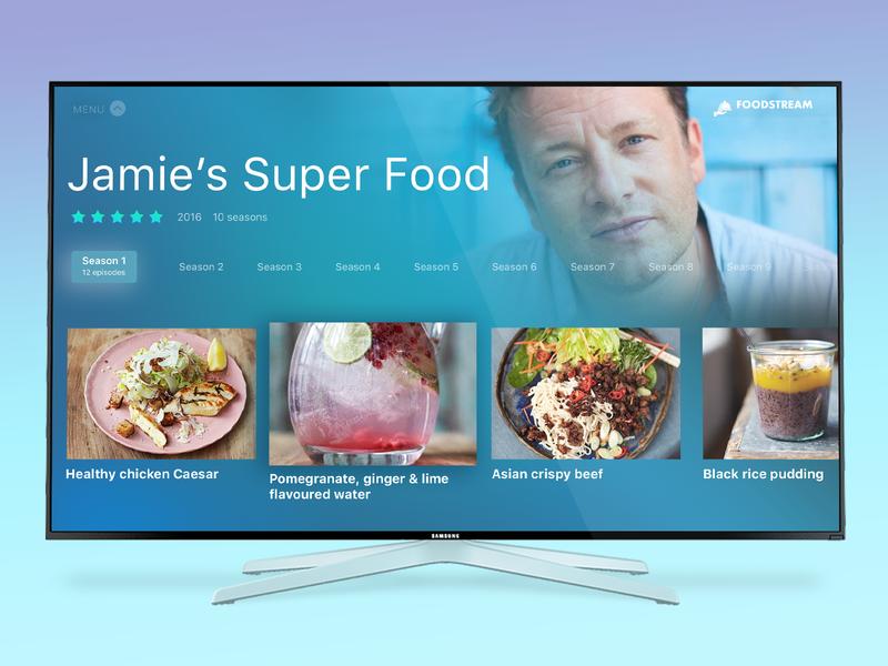 Smart TV App for cooking video app gradient minimalist minimalist design typogaphy food food app ux ui app apple tv smart tv