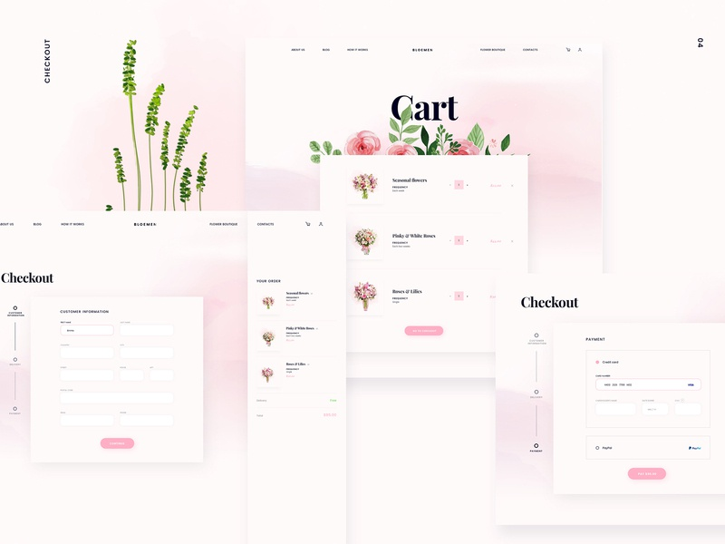 Bloemen Flower Shop cart checkout shop flowers pink branding brand identity typography illustration ux ui