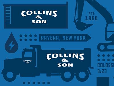 Collins and Son christmas tree tree farm illustration logo design
