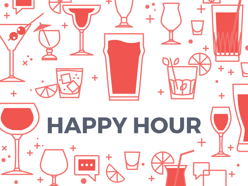 Happy Hour glasses limes ice shots wine beer drinks happy hour