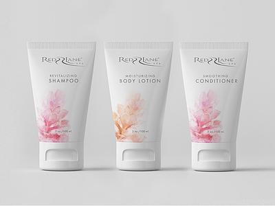 Redlane Spa branding skincare tubes packaging