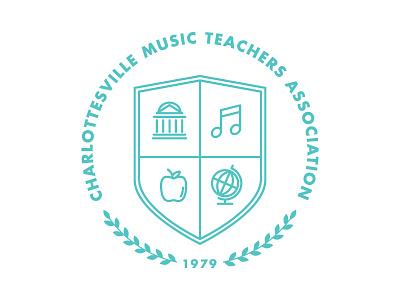 CMTA Revision charlottesville music teacher association virginia badge logo rotunda globe note apple icon