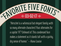 "MyFonts ""Favorite Five Fonts"" Feature"