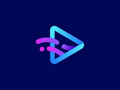 Flow Clips App Logo Design fluid vector branding geometric neon dark logo design