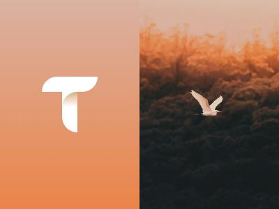 Travel App Logo Concept travel travel app letter bird concept geometric lettermark vector branding logo app design