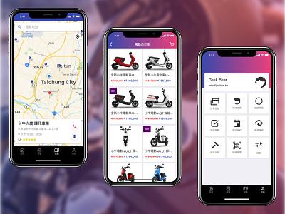 Scooter ECommerce App motorcycle navigation account shop ecommerce maps scooter mobile app app mobile design ux ui