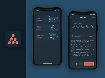 Algorithm App Design lettermark dark theme dark ui learning app learning coding code algorithm algo geometric logo mobile mobile app app ux ui design