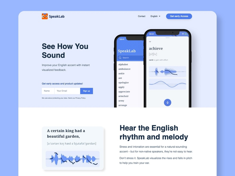 SpeakLab - English Intonation Training App pitch recording voice education app waveform clean mobile ui ux app mobile app speaking pronunciation app language learning