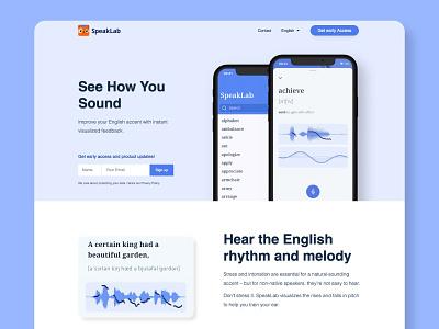 SpeakLab - English Intonation Training App pitch recording voice education app waveform clean mobile ui ux app mobile app speaking pronunciation app language learning