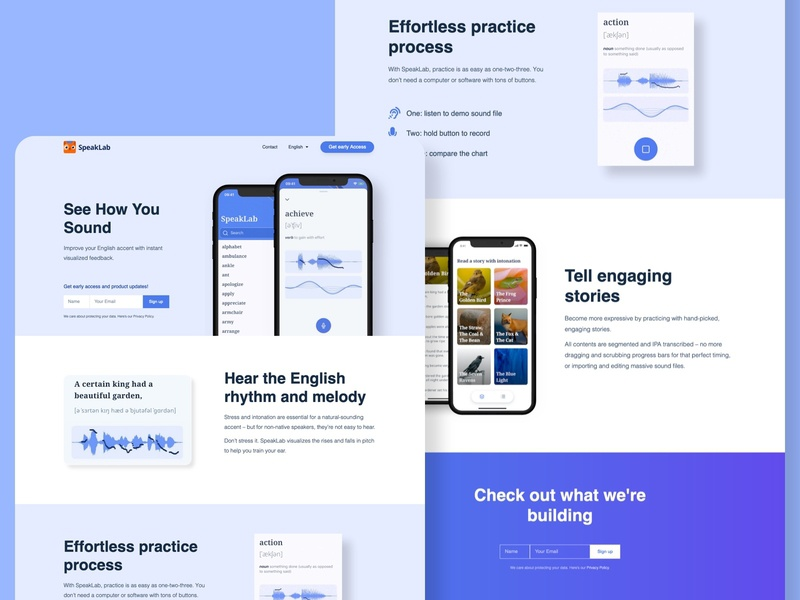 SpeakLab - accent reduction app pronunciation pitch intonation signup clean ui website landingpage english learning speaking accent language learning mobile app app mobile ux ui