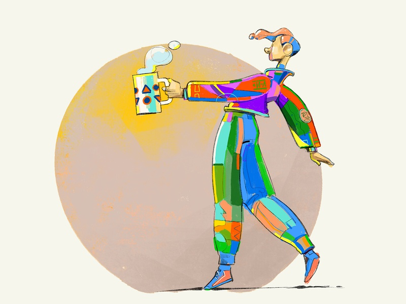 Already Drunk hurca procreate drawing illustration dresscode colorscheme colors outfit style walking characterdesign drink