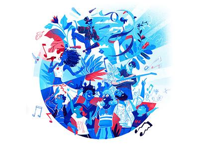 Together Festival together joy fest music celebratoins baskers dance people festival society tondo