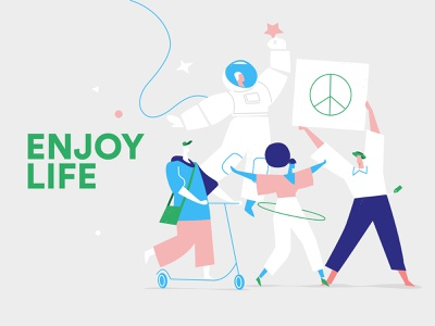 Enjoy Life together fest cosmos illustration style party society lifestyle enjoy joy fun people