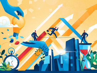 Human Challenges society cool style hurca vectorart illustration idea target salesforce businessmen success teamwork risk goal finance business challenge