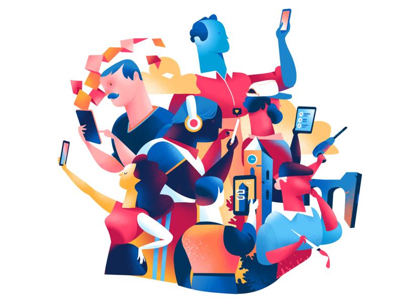 Tech Addicted hurca socil addiction mobile app augmented reality device addiction digital technology people ui society lifestyle illustration
