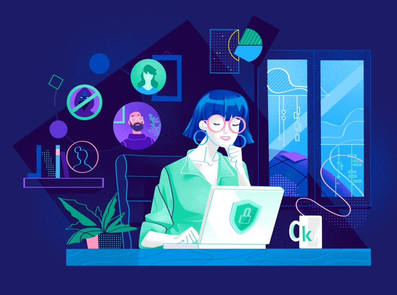 Security Home Working hurca security app drawing vector art illustrator illustration window data cloud relax home office cyber crime network connct remote working laptop work kob home