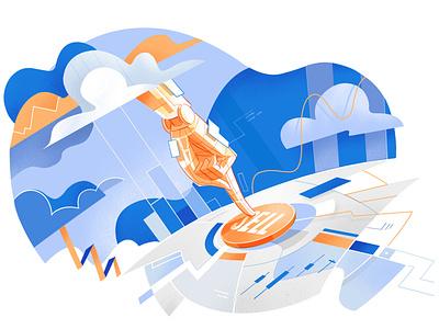 Robo Trading statistics trading platform market worldwide ui design startup style cool illustration trading app information big data stock sell finance algorithm robot finttech trading