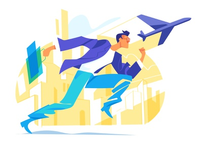 Fast Life hurca vector art illustration move mission downtown city speed hurry follow business trip fast quick fly trip running runner run businessman