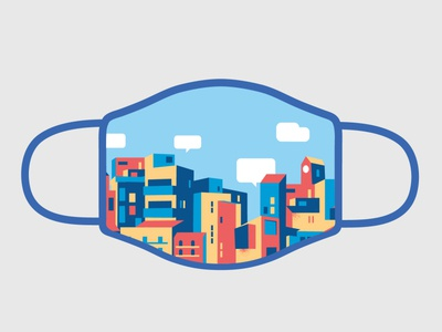 Safe City mask design social distancing stay safe stay at home dress code dress mask style cool hurca wow illustration